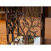 Laser cut candle holder Tree+animals