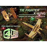 Tie Fighter & X-Wing Laser Cut Ornaments - C4 Labs