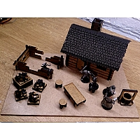 Small Lasercut Log Cabin with Shingles
