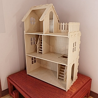 Big plywood Doll house for Barbie. Cnc router cutting file, Vector model for router cut.