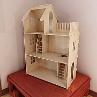 Big plywood Doll house. 6mm plywood. Vector model for CNC router and laser cutting. Barbie size dollhouse.