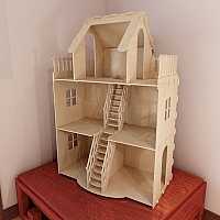 Dollhouse v2. Big plywood Doll house. Vector model for CNC router and laser cutting. Barbie size dollhouse.