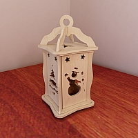 Holiday Christmas & Winter Lantern. Candle Holder. DIY wooden lantern. Vector model for CNC router and laser   cutting.
