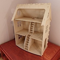 Medium wooden dollhouse. Vector model for router and laser cut. Plywood 6mm.