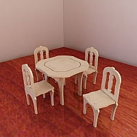 Table and chairs for Barbie. Vector model for CNC router and laser cutting. Barbie-size CNC plans. Plywood 4mm / 5mm.