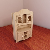 Large Sideboard for Barbie. Barbie-size furniture. Vector model for CNC router and laser cutting. Plywood 5mm. CNC plans.