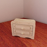 Wooden commode for Barbie dollhouse. Barbie-size furniture. Chest of drawers. Vector model for CNC router and laser cutting. Plywood 5mm.