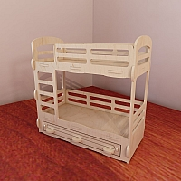 Bunk bed for Barbie dollhouse. Barbie-size 1:6 scale. Vector model for CNC router and laser cutting. Plywood 5mm. Doll furniture. DXF, SVG, AI, CDR.