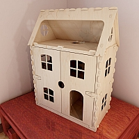 Front opening dollhouse v6. Laser cutting vector Plans. CNC router cutting project.  Plywood 6mm.