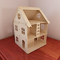 Great wooden dollhouse model (1:12 scale). Dolls 4-7 inch (12-16 cm). CNC router/laser cutting file. Plywood 4mm/5mm. Instant download. DIY.