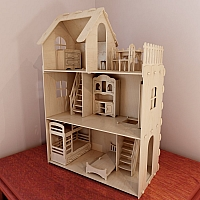 Big plywood Doll house v1 + Dolls furniture Pack. Vector model for CNC router and laser cutting. Barbie size dollhouse. Doll house kit.