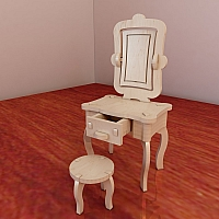 Beautiful Barbie vanity and chair. Pattern vector model for CNC router and laser cutting. Plywood 3mm/4mm/5mm/6mm. Dressing table. Scale 1/6.