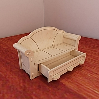 Beautiful Barbie sofa design. Barbie size furniture. Vector projects for CNC router and laser cutting. Woodworking plans. Plywood 3mm/4mm/5mm/6mm.