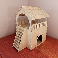 Cat house pattern for CNC router and laser cutting. Wooden (plywood) cat furniture. Vector projects. Plywood 4mm/5mm/6mm.