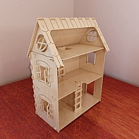Small dollhouse pattern for CNC router and laser cutting (1:12 scale). Dolls 4-7 inch (12-16 cm). Vector projects. Plywood 4mm/5mm/6mm.