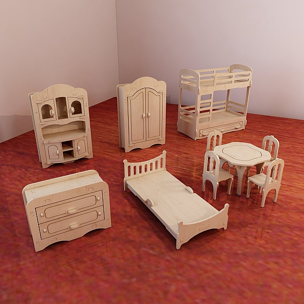 Dolls furniture pack vector models for cnc router and for Scale model furniture