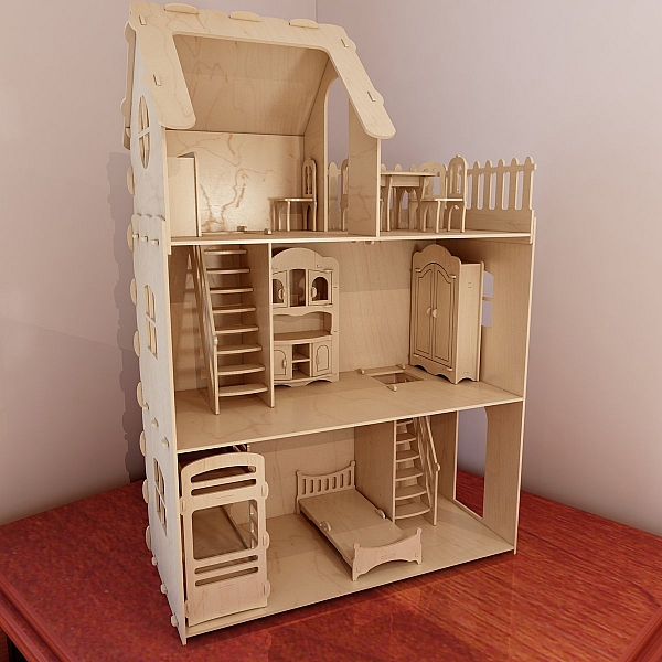 Big plywood Doll house v1 + Dolls furniture Pack. Vector ...