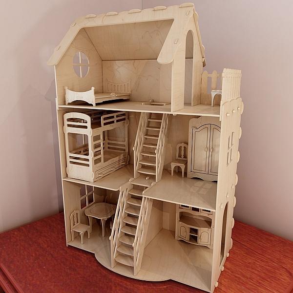 Huge Plywood Doll House V3 Dolls Furniture Pack Pattern