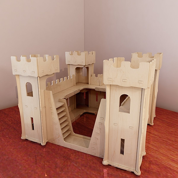 Beautiful wooden castle toy plans pattern vector model for 3d printer house for sale