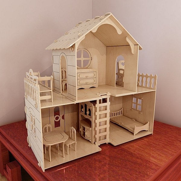 Big plywood dollhouse v7 dolls furniture pack cut plans for Free house projects