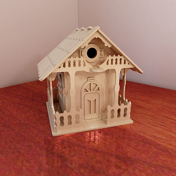 Big wooden birdhouse design vector projects for cnc for Birdhouse project